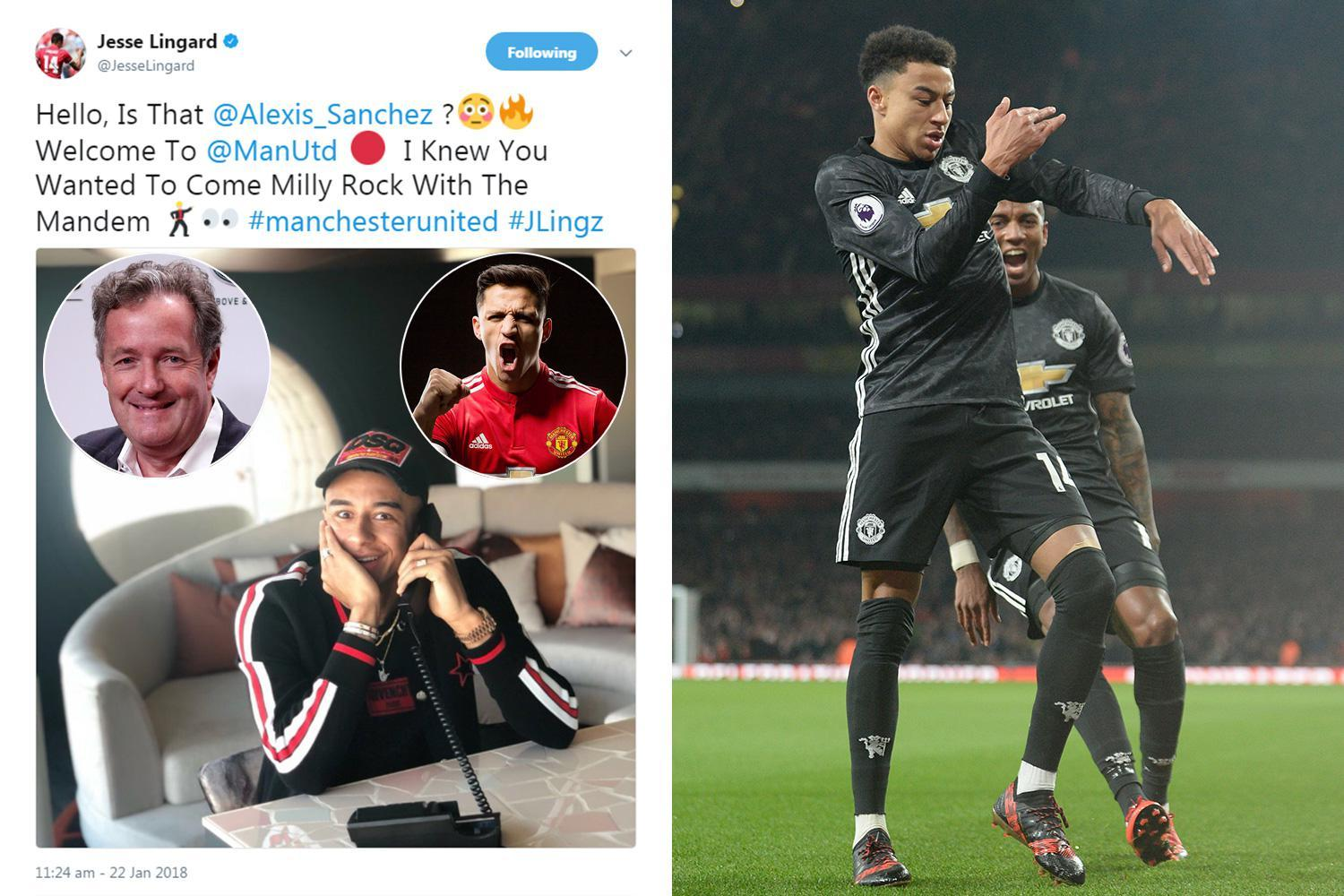 Jesse Lingard and Piers Morgan in Twitter war over Alexis Sanchez move to Manchester United