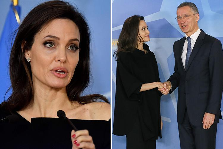 Angelina Jolie and NATO chief announce new measures to curb sexual violence in war zones as she continues global tour