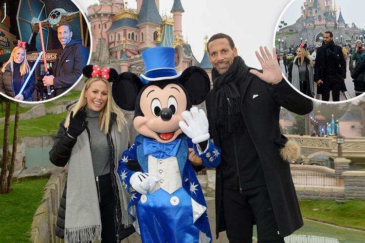 Kate Wright and Rio Ferdinand join the dark side as they pose with Storm Troopers and Darth Vader at Disneyland Paris Star Wars spectacular
