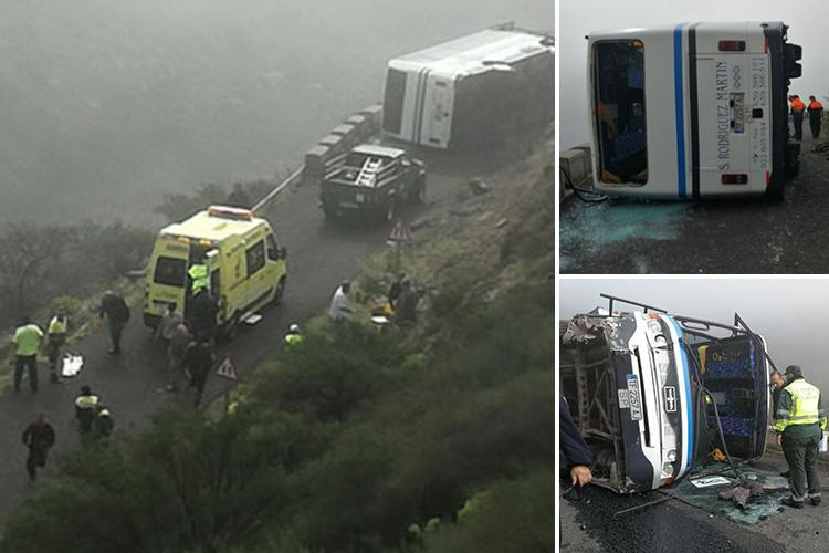 Brit tourists cheat death after coach overturns and almost plummets down steep ravine in Canary Isles