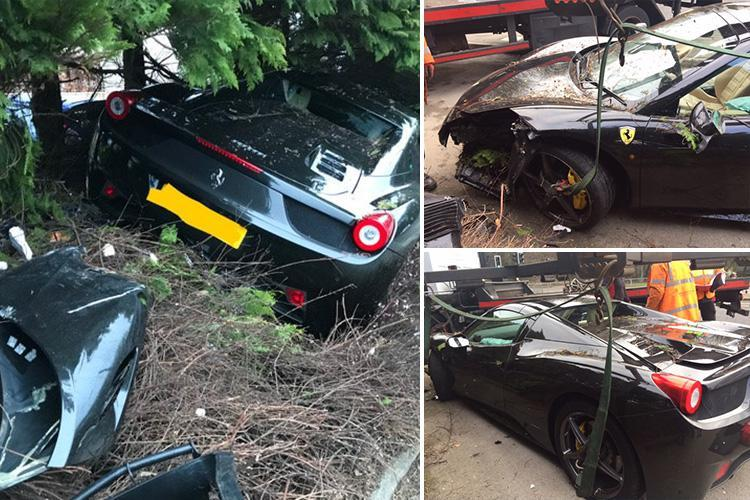 Ferrari supercar worth £200,000 destroyed after ploughing into front garden and leaving a trail of destruction