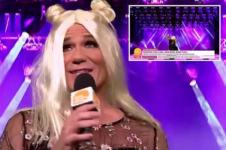 Richard Arnold re-enacts Gemma Collin's infamous stage fall – as she's half an hour late for GMB