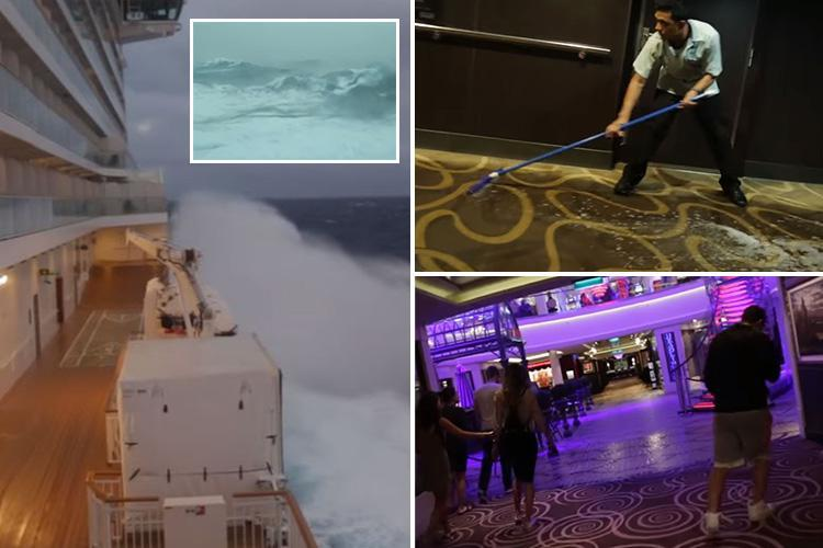 Passengers' terror as cruise ship is battered by US 'bomb cyclone' sending water crashing into bathrooms and hurling people from their beds