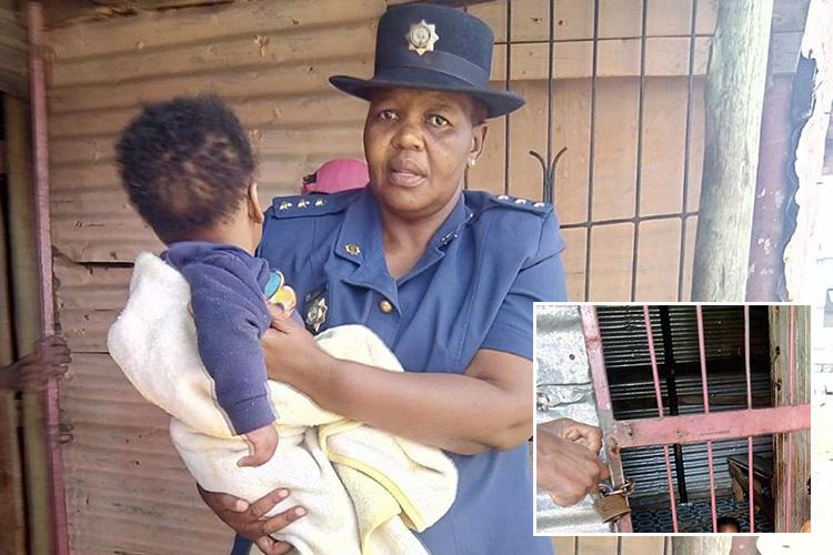 Cops storm back garden shack to rescue two starving toddlers whose cruel parents locked them up in there every day while they went out