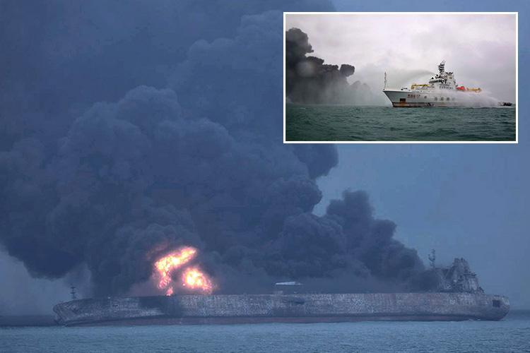 Fears burning Chinese oil tanker could explode and sink triggering environmental disaster as big as Exxon Valdez