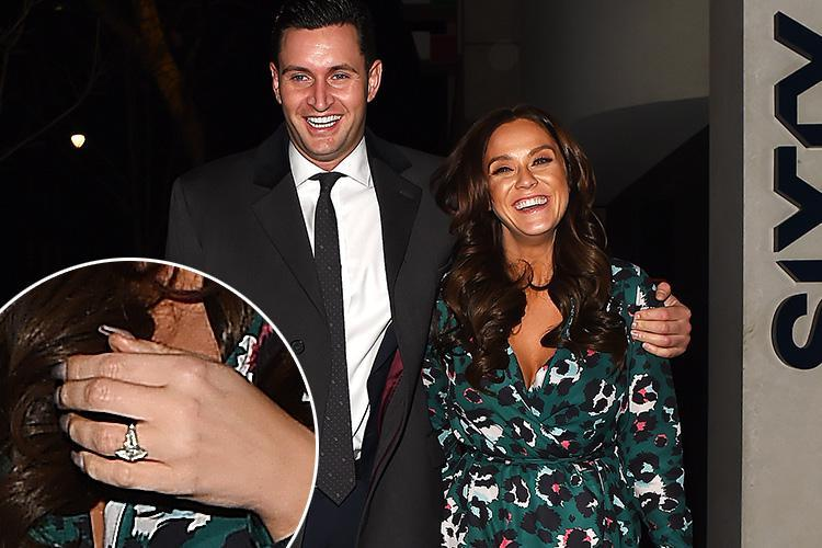 Vicky Pattison can't stop smiling as she flashes her engagement ring on night out with fiancé John Noble after postponing their wedding