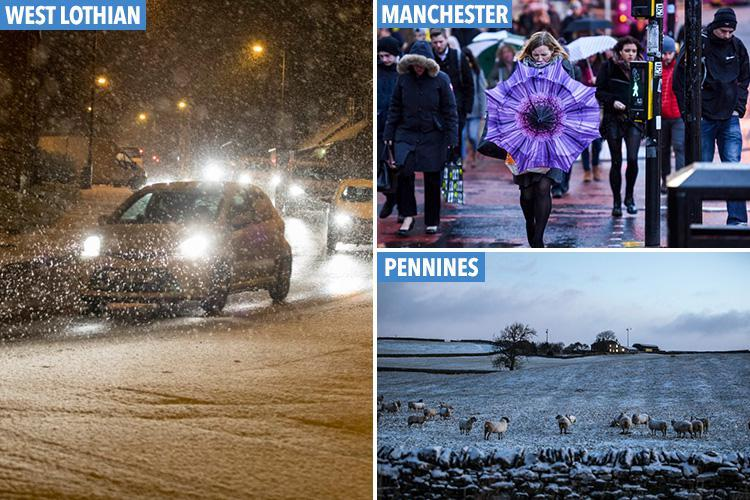 UK weather brings snow to parts of Britain after -7C icy blast overnight – as fresh storm threatens flash floods and 80mph gales