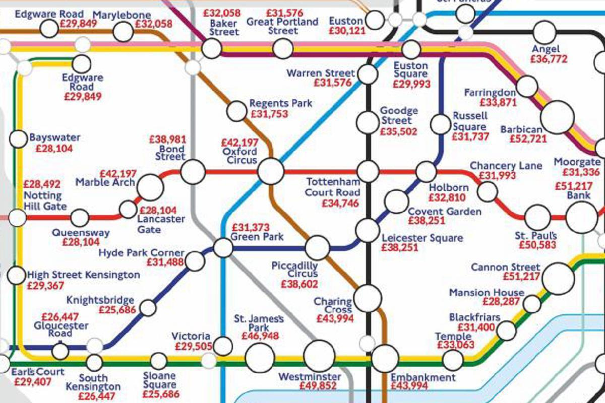 New Tube map reveals how much people earn near each Underground station