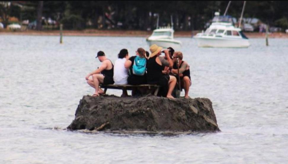 Cheeky Kiwi boozers build pub on a makeshift island out at sea in bid to avoid New Zealand drinking ban