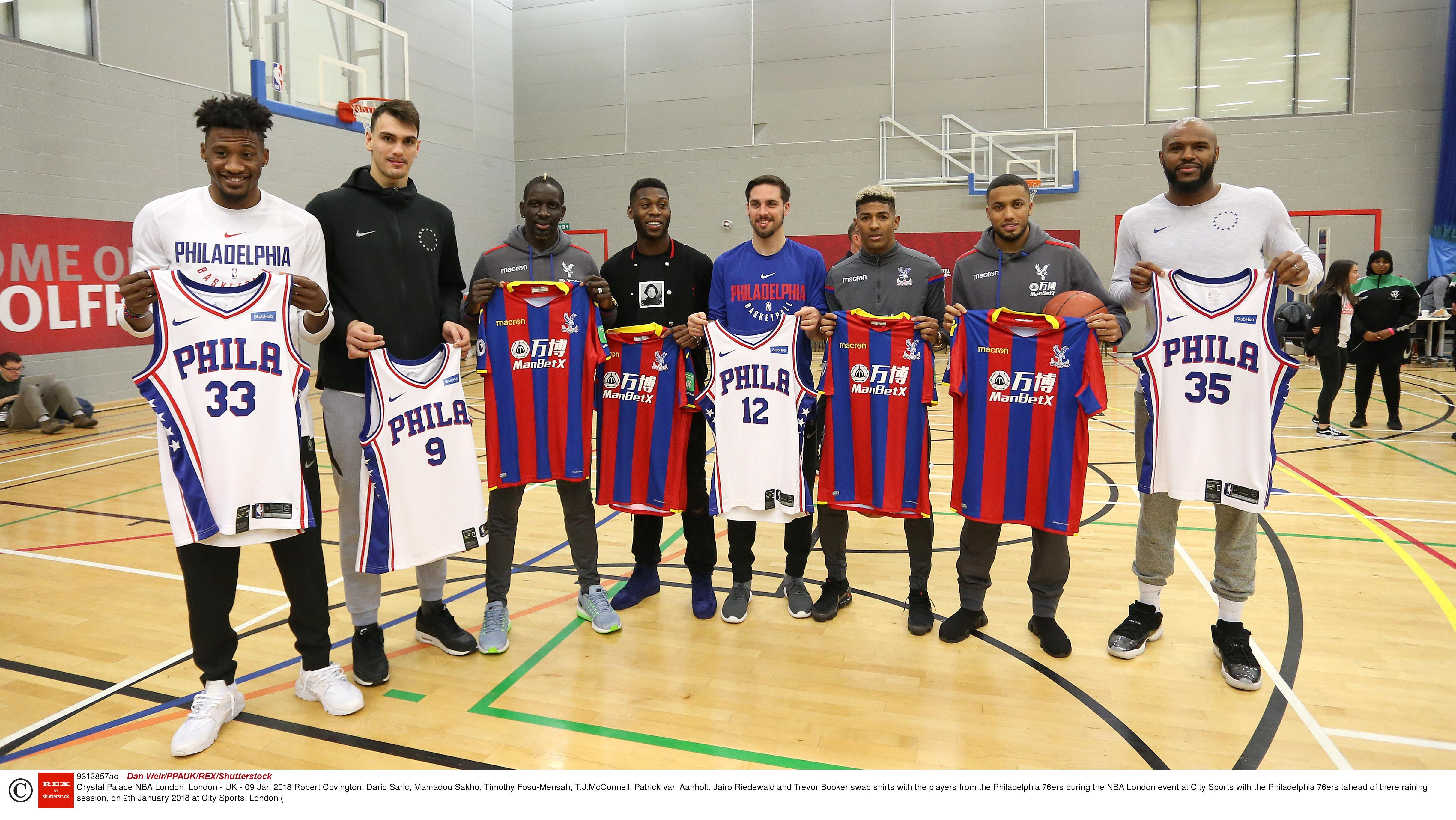 Crystal Palace stars look like children as Philadelphia 76ers players tower over them during kids clinic ahead of NBA London game