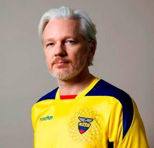 WikiLeaks founder Julian Assange sparks rumours he has been given an Ecuadorian passport by posing in a football shirt