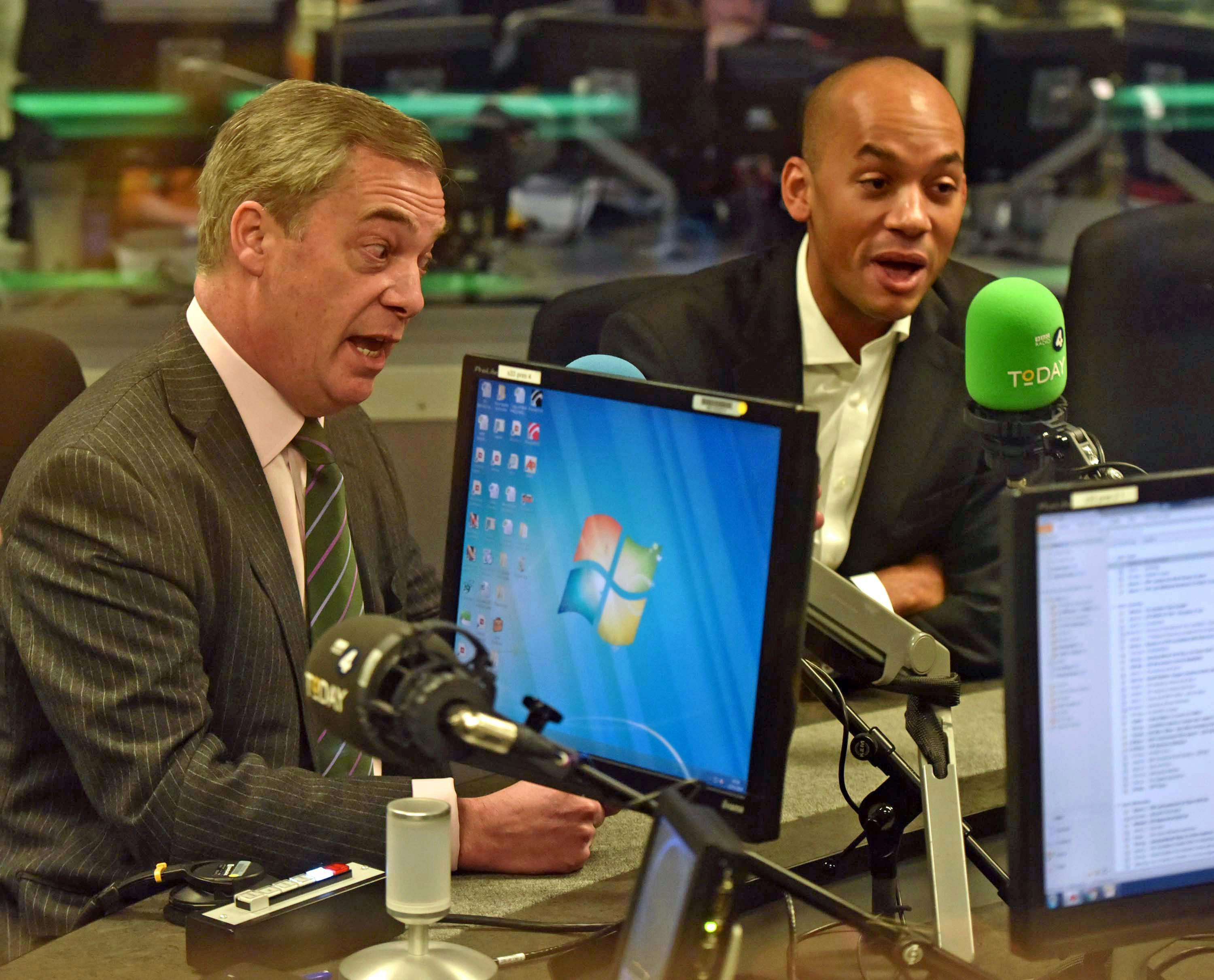 Nigel Farage and Chuka Umunna in explosive row over Donald Trump's cancelled UK visit