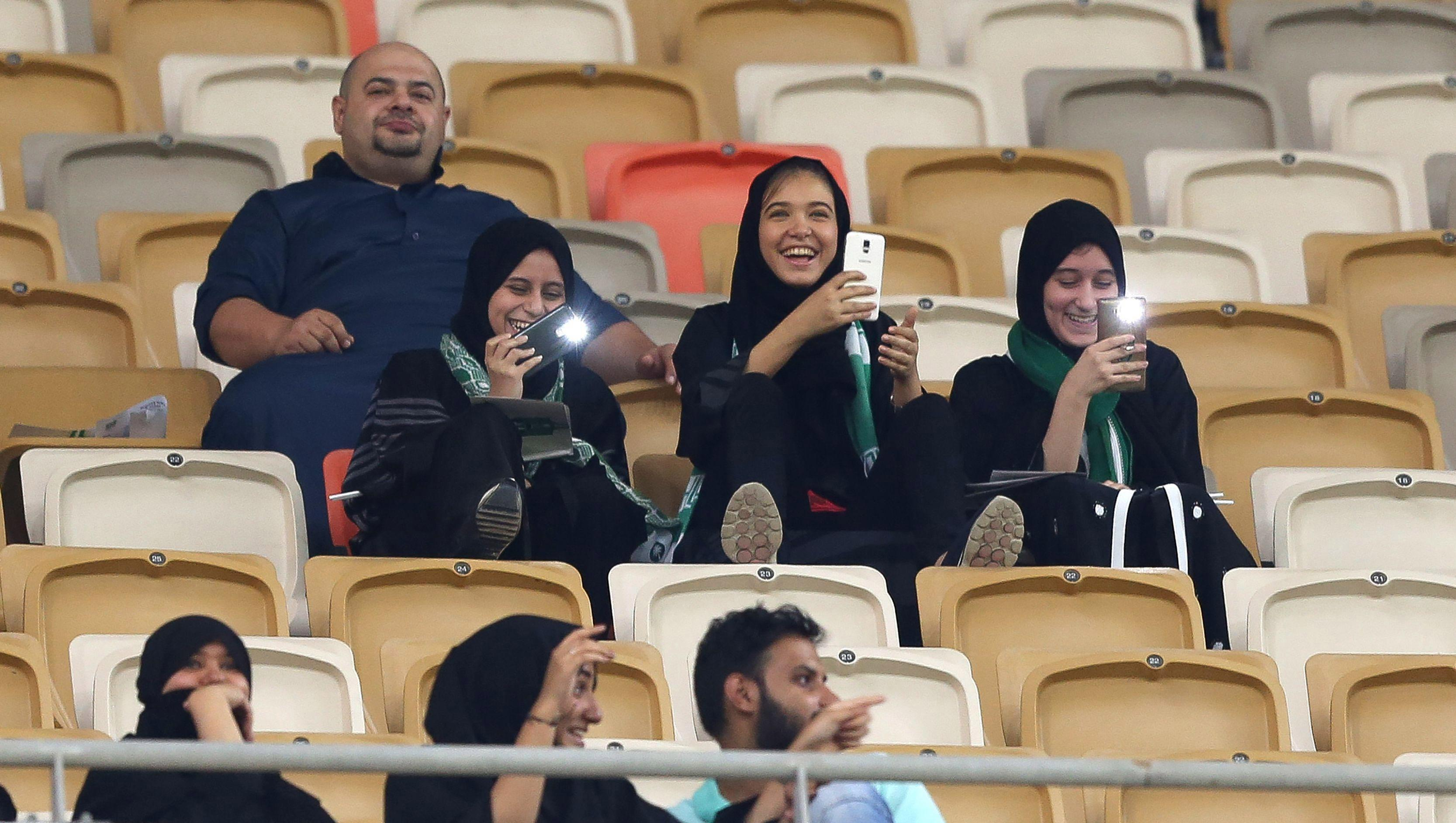 Saudi Arabian women enter football stadiums for first time EVER as they turn up for crunch match between local stars
