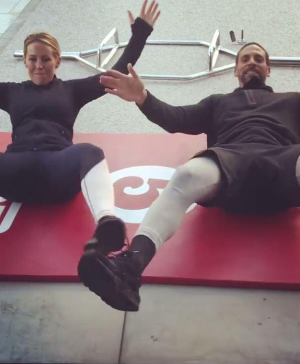 Kate Wright and Rio Ferdinand hit the mats for another gruelling couples workout at 4.37am