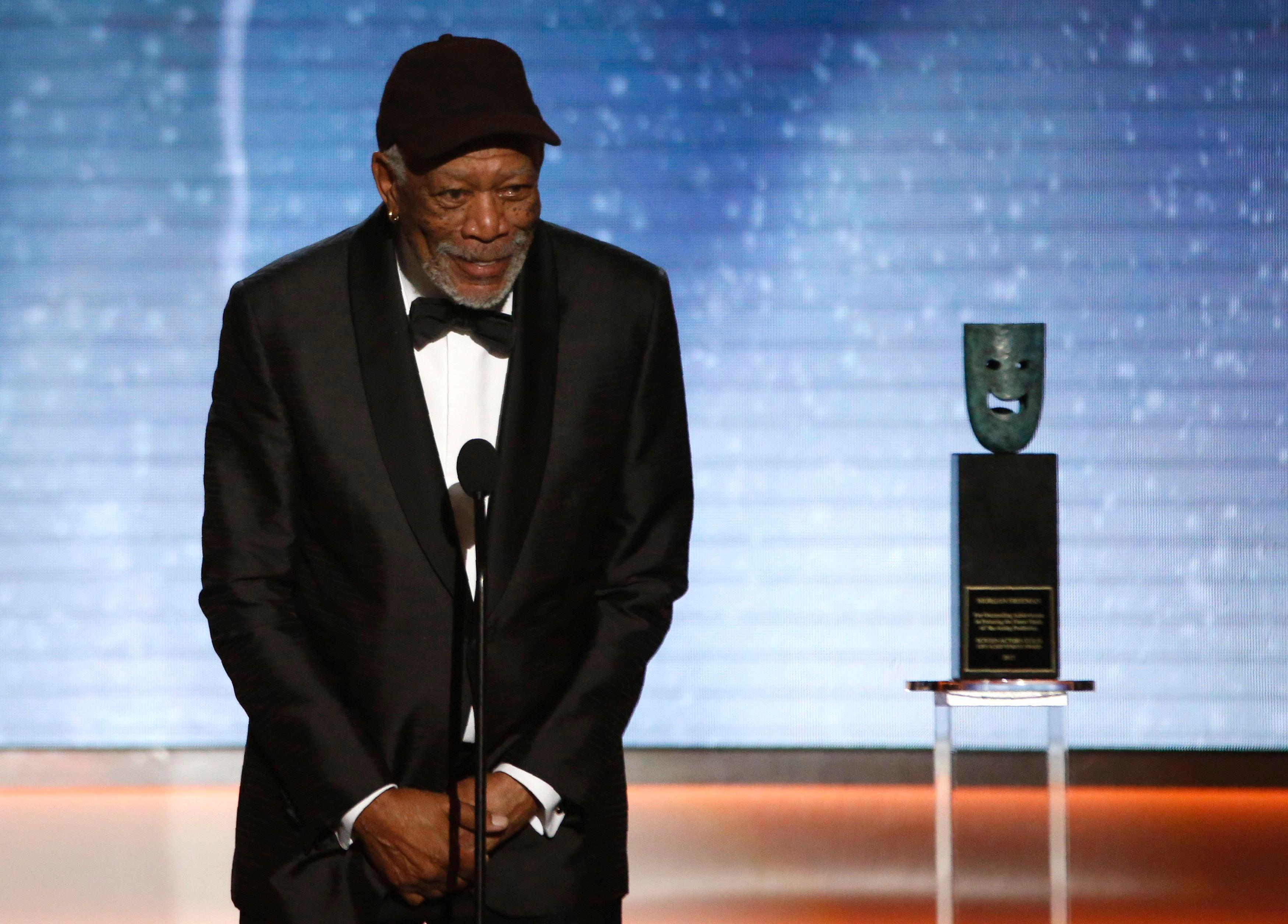 Morgan Freeman calls out person 'chatting' during his Lifetime Achievement acceptance speech at SAG Awards