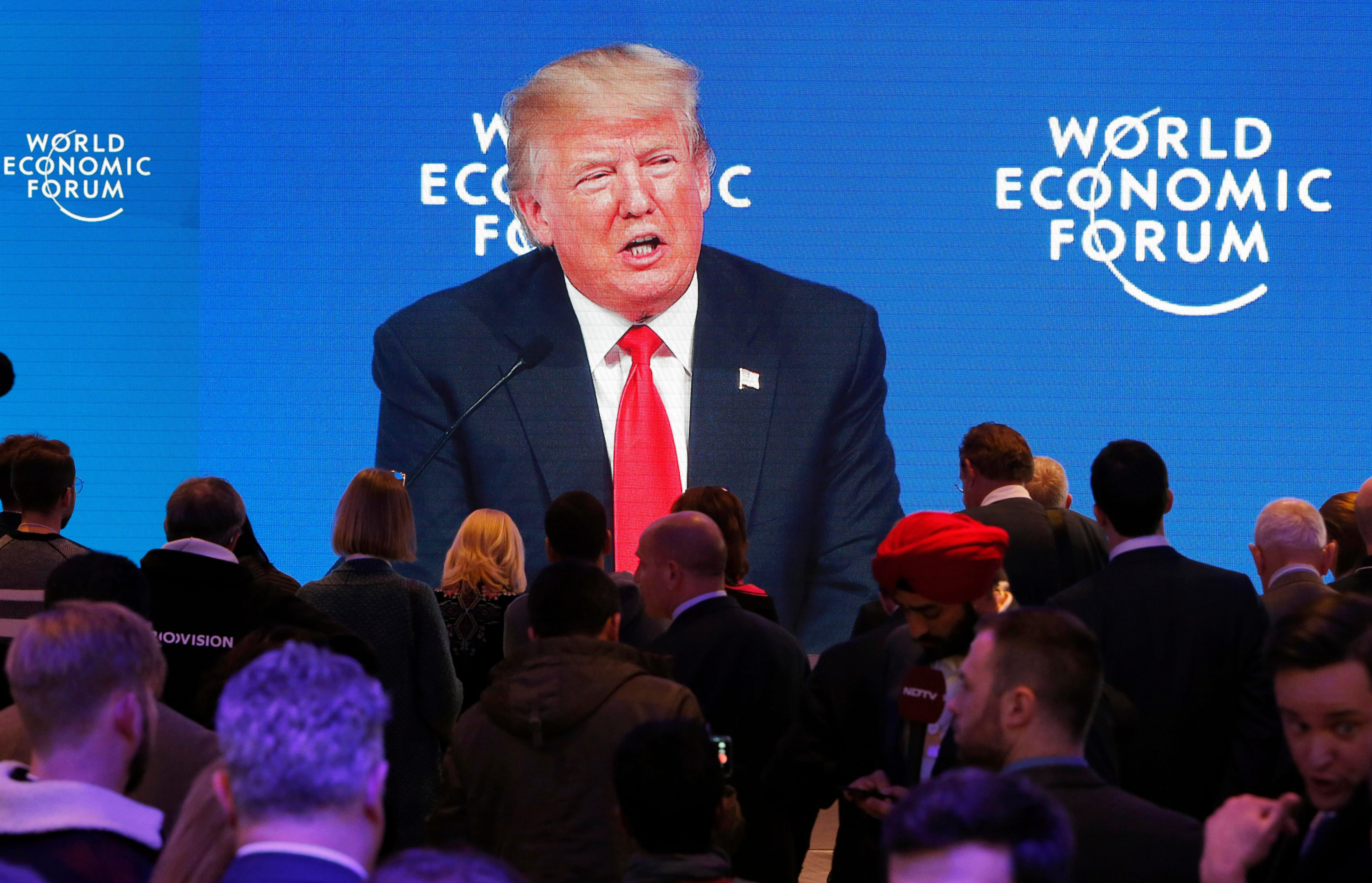 Donald Trump SNIFFS his way through entire Davos speech irritating hundreds watching