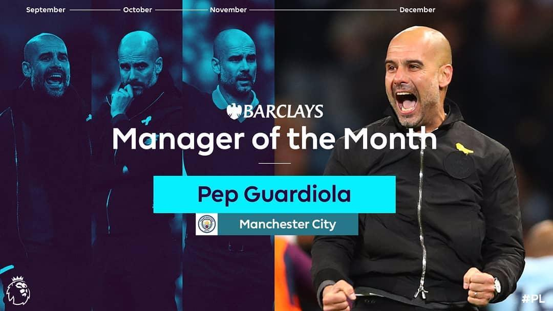 Manchester City boss Pep Guardiola wins Premier League Manager of the Month award for a record fourth time in a row