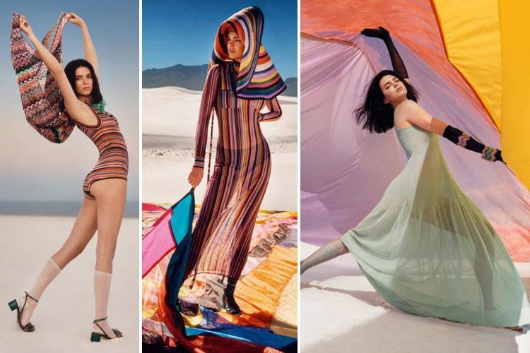 Kendall Jenner wraps herself up in sheer colourful dress for eye-catching photo shoot in the desert