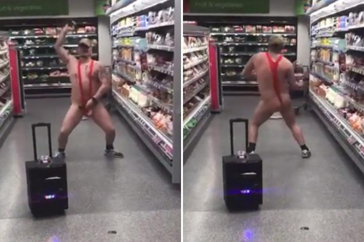 Bizarre moment man in a MANKINI hits the supermarket – and dances to Gangnam Style