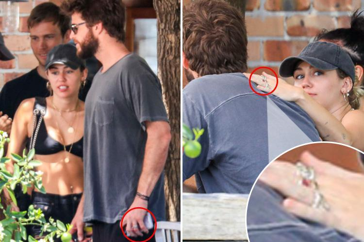 Miley Cyrus and Liam Hemsworth fuel rumours they've married in secret as they both wear 'wedding rings' at lunch in Australia