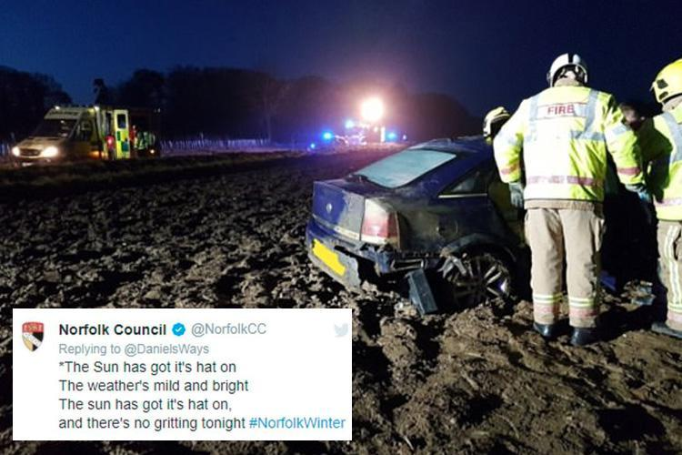 Council slammed for 'gleeful' tweet about not gritting the roads before 37 CRASHES across the area
