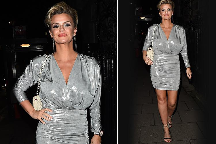 Kerry Katona shows off her two stone weight loss as she steps out in sexy silver dress on a night out in Mayfair