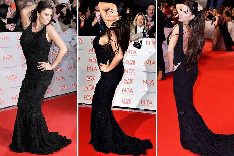 Katie Price hogs the red carpet spotlight as she poses in black backless dress at the National Television Awards