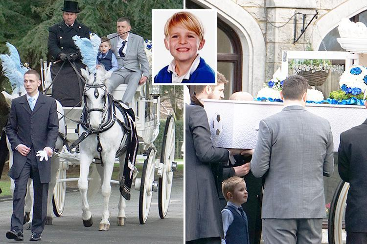Heartbreaking moment boy, 5, leads horse-drawn funeral procession for twin brother killed walking home from school