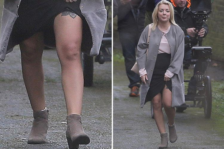 Sheridan Smith flashes her thigh tattoo on the set of new ITV series Clean Break