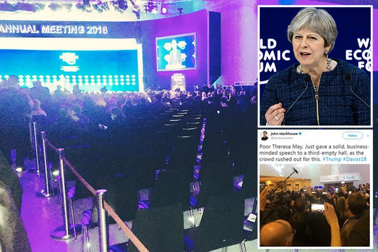 Theresa May gives her speech to a half-empty room in Davos as the crowds rush out for Donald Trump