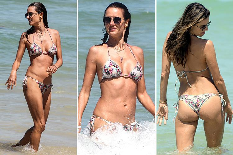 4b4fe039952 Victoria's Secret model Alessandra Ambrosio tops up her tan in a thong  bikini in Brazil