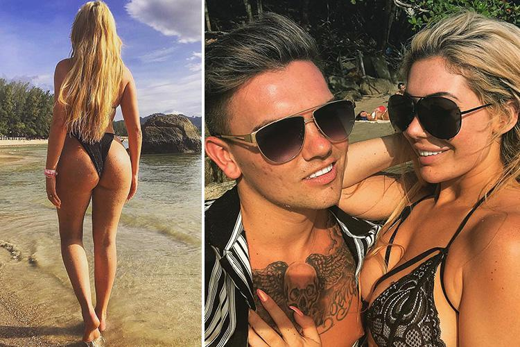 Chloe Ferry bares her bum in a barely-there bikini and flashes a ring on her wedding finger on loved-up holiday in Thailand with Sam Gowland