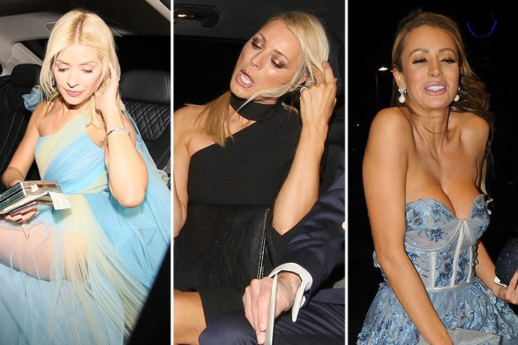 Holly Willoughby, Tess Daly and Olivia Attwood look all partied out as they head home after the National Television Awards