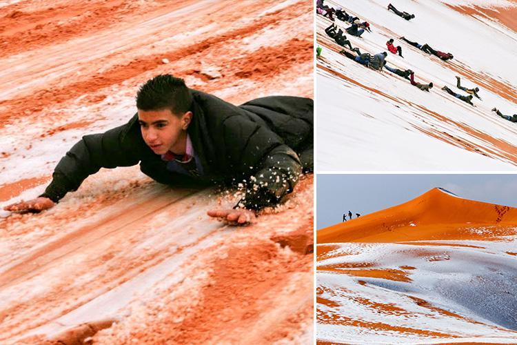 Freak snow storm in the SAHARA allows local kids to have the time of their lives sliding down sand dunes and making snowmen