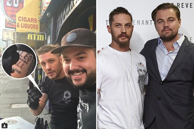 Tom Hardy finally gets embarrassing tattoo two years after losing a bet with Leonardo DiCaprio