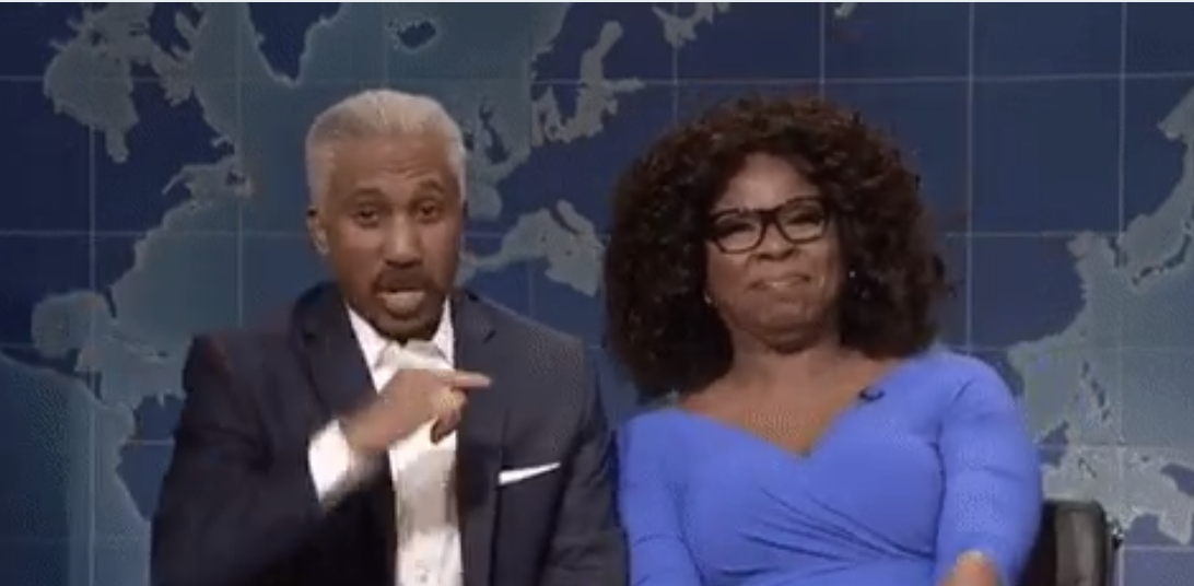 SNL: Oprah and Stedman stop by for an interview on Weekend Update