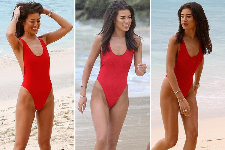Love Island's Montana Brown does her best Baywatch impression as she hits the beach in Barbados in a bright red swimming costume