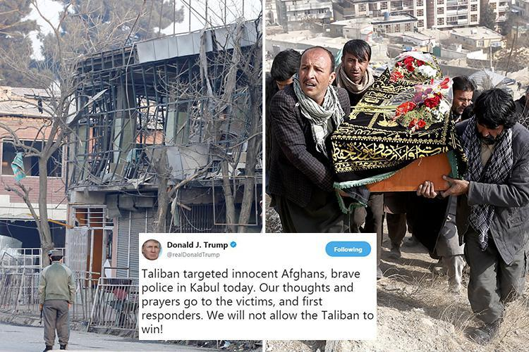 Donald Trump vows 'not to allow the Taliban to win' after terrorists driving 'suicide ambulance' kill 95 and injure 191