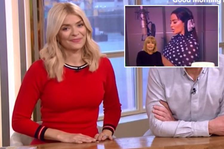 Holly Willoughby makes playful dig at Katie Price after bizarre rendition of 'Congratulations' after This Morning beat Loose Women at the NTAs
