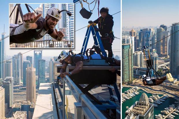 Anthony Joshua zooms along jaw-dropping zipline as he treats beloved mum to Dubai trip away