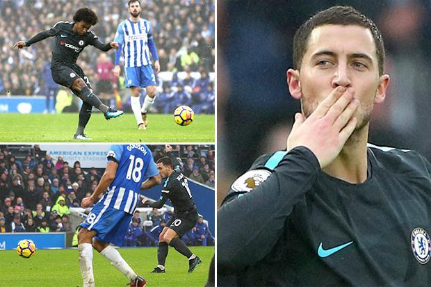 Brighton 0 Chelsea 4: An Eden Hazard brace and goals from Willian and Victor Moses send Antonio Conte's men third in Premier League
