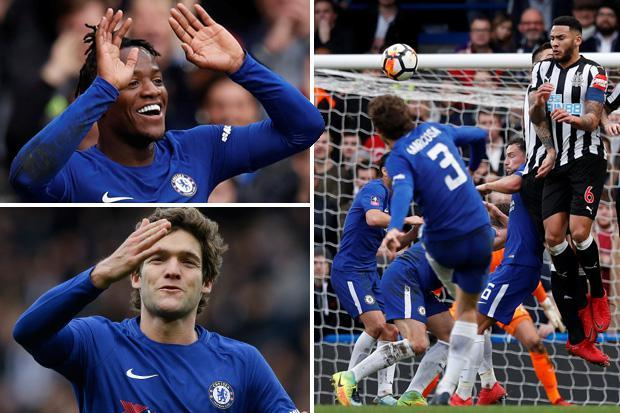 Chelsea 3 Newcastle 0: Michy Batshuayi double and Marcos Alonso's seventh goal of season sink sorry Magpies