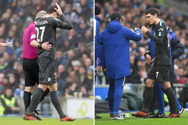 Andreas Christensen taken off for Chelsea after clashing heads with Brighton defender Shane Duffy