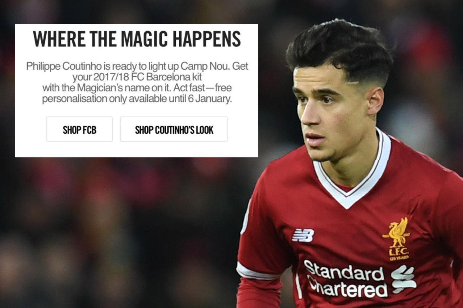 Liverpool to demand 'astronomical' fee for Philippe Coutinho after Nike website blunder
