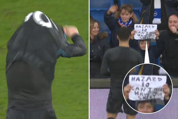Eden Hazard gives Chelsea shirt to young Brighton fan after two-goal display helps sink Seagulls