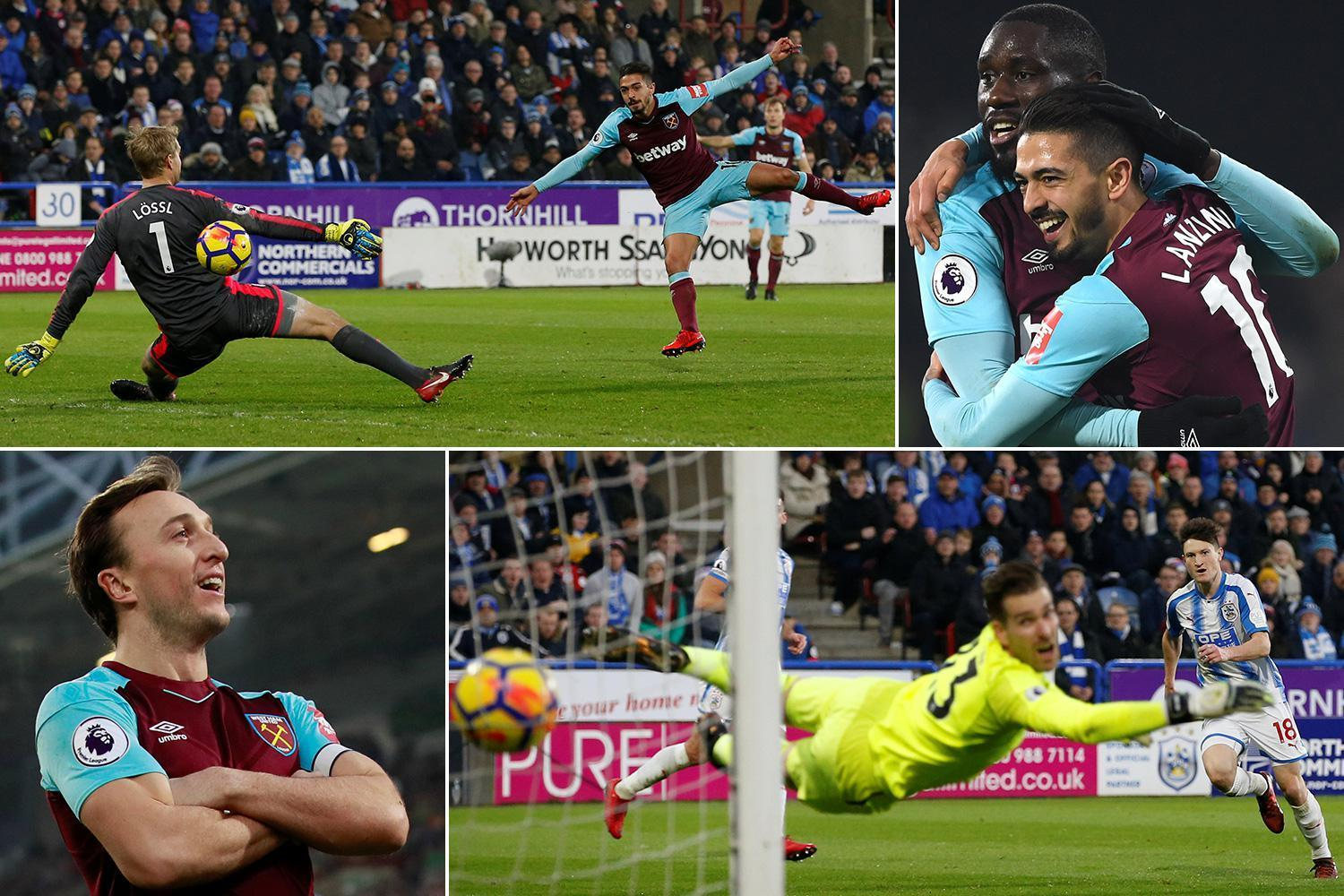 Huddersfield 1 West Ham 4: Terriers hammered as Marko Arnautovic and Manuel Lanzini star to lift visitors five points clear of drop