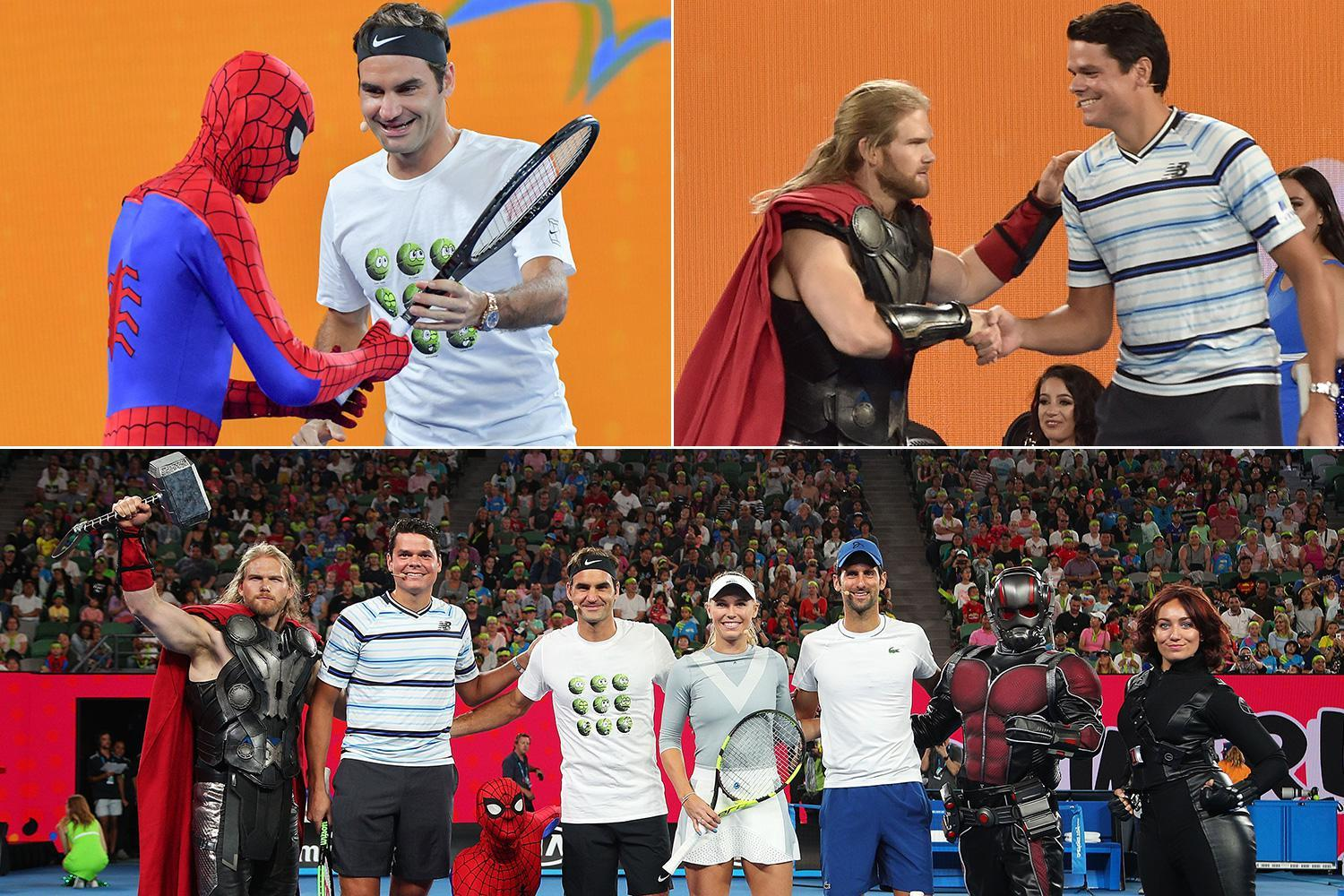 Australian Open 2018: Roger Federer plays tennis with Spider-Man… while Milos Raonic practices with Thor