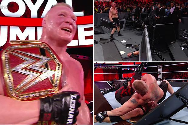 Royal Rumble 2018: Brock Lesnar retains Universal Title after defeating Braun Strowman and Kane