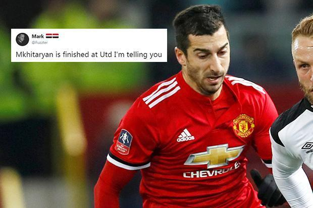 Manchester United fans lay into Henrikh Mkhitaryan after first half shambles against Derby County
