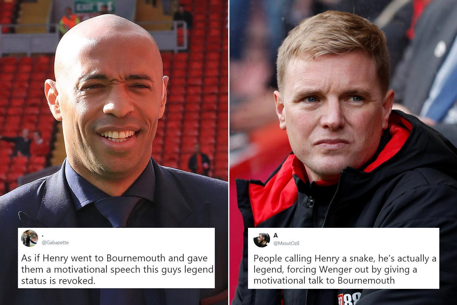Arsenal fans split over Thierry Henry's meeting with Eddie Howe before Bournemouth loss